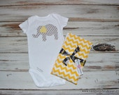Elephant Onesie Yellow Gray Baby Gender Neutral Baby - Onesie and Burp Cloth Set