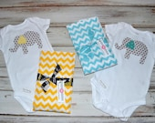 Baby Elephant Onesie and Matching Burp Cloths - Aqua and Yellow Baby Onesie and Burp Cloth Gift Set