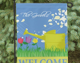 Double Sided Personalized Watering Can Spring Garden Flag  -gfy83049422DS