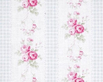 68076  Tanya Whelan Slipper Roses collection Country Ticking in Blue  PWTW084 -  1  yard