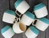 Vintage Aqua Vacron Plastic Mugs Set of 8