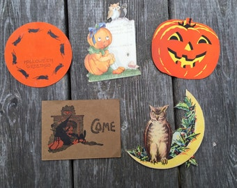 Vintage Halloween Party Invites Scrapbook Ephemera lot of 5