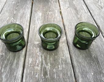Vintage Dansk Design Green Glass Votive Holders set of 3