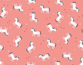 1/2 yard LAMINATED cotton fabric (similar to oilcloth) - 18 x 40 - Princess Unicorn coral EXCLUSIVE - Approved for children's products