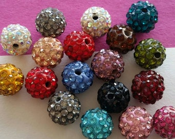 Mixed Shamballa Pave Rhinestone Swarovski  crystal 10mm beads for your jewelry project destash diy (RML1063)- 10 beads
