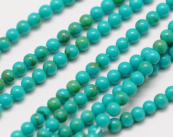 Natural Turquoise 2mm round gemstone beads for your art or jewelry projects (PH1012)- 26 beads- ship from Canada