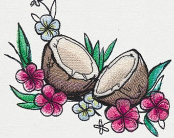 Coconuts Embroidered Flour Sack Hand/Dish Towel