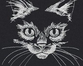 Flickering Kitty GLOW in the DARK thread Embroidered Flour Sack Hand/Dish Towel