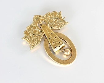 Victorian Brooch. Gold filled Etched. Door Knocker Bell Articulated Antique jewelry