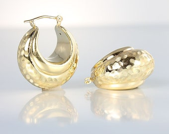 14k Gold Hoop Earrings, Solid yellow Gold Round Puffy Etched Thick vintage Earrings 3.2 grams
