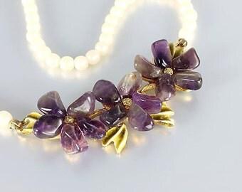 Nugget Amethyst Flower Necklace, Vintage Swoboda jewelry, Cultured Pearl Designer 17 inch