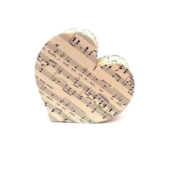 Sheet Music Heart Personalised Gift Custom Present for Musician Teacher Music Lover Love Anniversary Wedding Gift for Couples Monochrome
