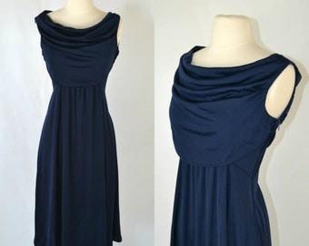 1970s Dark Blue Cowl Collar Sleeveless Dress by Casual Corner