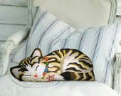 Cat Pillow - Stuffed Animal - Tabby Kitten - front only