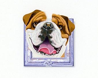 English Bulldog Tiny Art Print - Tan and White - Dog Art Print - Tiny Bulldog in a Frame