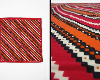 Vintage Modern Zigzag Bandanna Red One Sided Handkerchief All Cotton