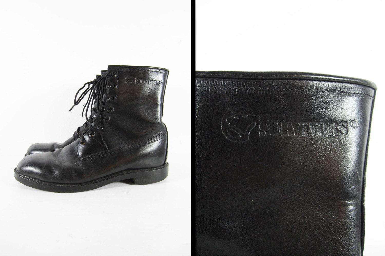 vintage herman survivor boots black leather insulated combat