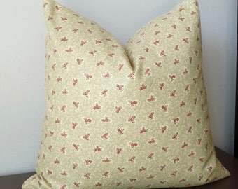 Floral Home Accents Designer Throw Pillow Vintage Red Rose Covington Fabrics