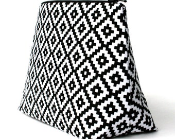 Black and White Geometric Aztec Southwestern Print Makeup Bag / Cosmetic Bag