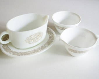 Vintage Pyrex Gravy Boat, Corelle Cream and Sugar, Woodland Pattern, Serving Set, 4 pieces