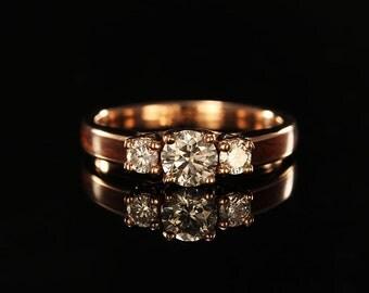 14K Rose Gold Wood Engagement Ring