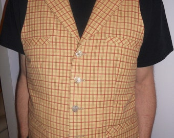 Yellow checkered  men's vest, yellow/red checkered cotton vest, men's vest with collar, size XXL mens vest, ready to ship