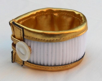 White gold bracelet, recycled zippers bracelet, gold leather and zippers cuff, ready to ship
