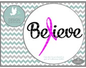 Believe Pink Ribbon Breast Cancer LL002 I - SVG - Cutting File - Graphic Design - ai, eps, svg, dxf (for Silhouette users), jpg, png