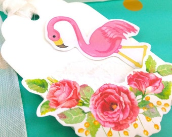 Flamingo Gift Tag Set - 3Pk Dimensional Floral Gift Tags. Gift Topper. Gift Embellishments - Premium De Luxe Watercolor handmade Gift Tags