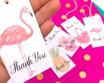 Flamingo Gift Tags. 10 Watercolor Mixed design Thank You Gift Tag Labels. Pineapple Gift topper Tropical Novelty Gift Tags. Custom Gift Tags