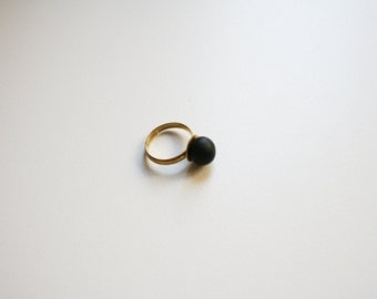 Black ring black dot Minimalist jewelry Dainty ring Stack ring Simple minimal ring Geometry jewelry