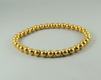 Gold Beaded Cordless Magnetic Hematite Bracelet
