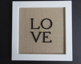 Above All Love Deeply - Christian WORD Wall Art - White, Burlap and Black - 1 Peter 4:8