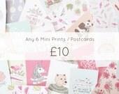 Any 6 Mini Prints / Postcards