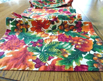 Autumn Table Runner / Fall Colors / Autumn Decor / long Table Runner / Egg Corns / Fall Leaves / Orange Leaves / Mums / Nuts / Thanksgiving