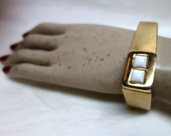 Vintage 60s PIERRE CARDIN Brushed Gold Square Clamper Cuff Bracelet with white Lucite Squares MOD