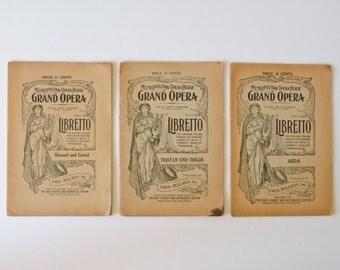 Antique 1920s Lot of 3 Metropolitian Opera Libretto Booklets - Haensel und Gretel, Aida, & Tristan und Isolde