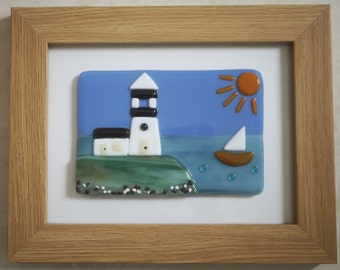 Fused Glass Wall Art Framed Picture - Lighthouse by the Sea