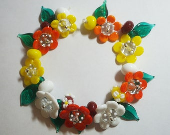 Handmade Lampwork Flowers/ Flower Glass Beads - Yellow,Orange,White