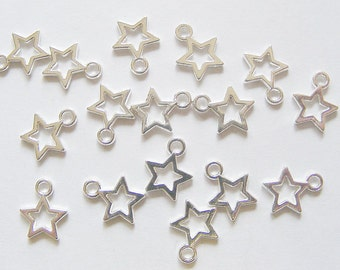 50 Metal Silver Plated Open Star Charms - 12mm