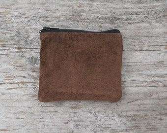 Small Zippered Coin Pouch - Brown Repurposed Suede