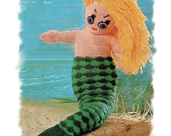 Instant Download PDF Knitting Pattern to make a Little Mermaid Doll Soft Cuddly Storybook Fantasy Fairytale Toy 20 inches Tall