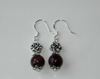 Brown Chrysocolla silver plated earrings (#495)
