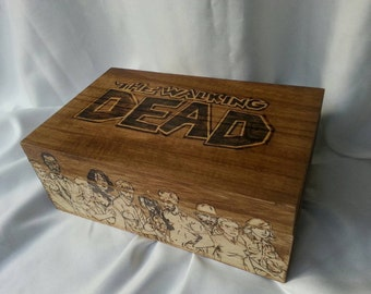The Walking Dead Comic based woodburned box