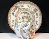 Demitasse Cup Saucer Eden Pattern Flowers Bone China Copeland Spode England Vintage 1940s