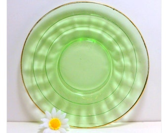 Sale Sherbet Bread Plate Green Glass 6 Inch Block Optic Anchor Hocking Gold Trim Depression Glass Vintage 1930s