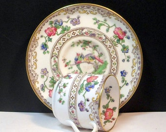 Sale Demitasse Cup Saucer Eden Pattern Flowers Bone China Copeland Spode England Vintage 1940s