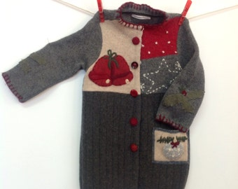 Upcycled wool sweater, baby, toddler coat, holiday jacket for toddler, embroidered jingle bells, vintage buttons, warm, boiled wool, holiday