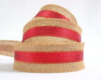 Hessian burlap Christmas ribbon, RED, festive, holiday ribbon, gift wrap, UK shop, rustic shabby chic ribbon,