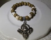 Cowboy Skull Charm-Wood and Bone-Mens-Handsome-Beaded Stretch Bracelet  (230)